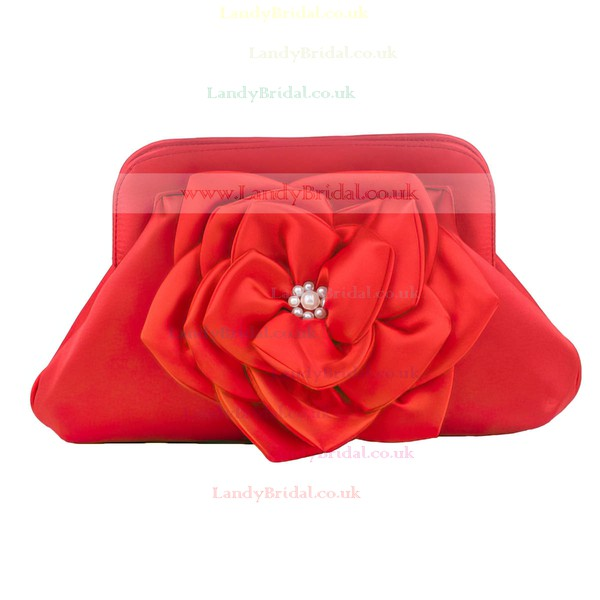 Red Silk Wedding Flower Handbags