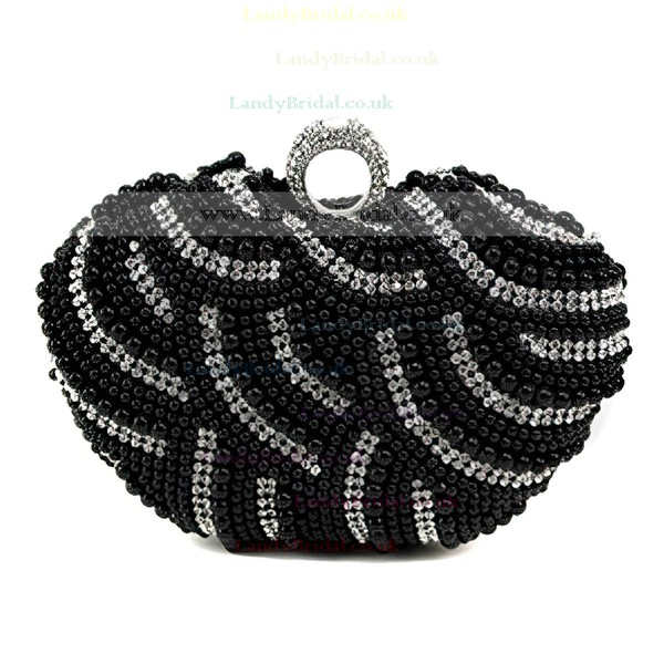 Black Polyester Wedding Crystal/ Rhinestone Handbags