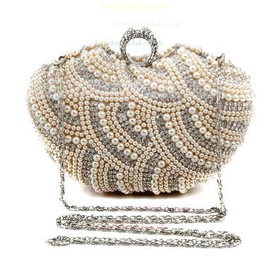 Black Polyester Wedding Crystal/ Rhinestone Handbags #LDB03160077