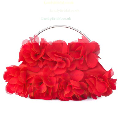 Red Silk Wedding Flower Handbags #LDB03160079
