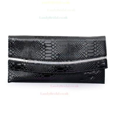 Black PU Ceremony&Party Crystal/ Rhinestone Handbags #LDB03160085