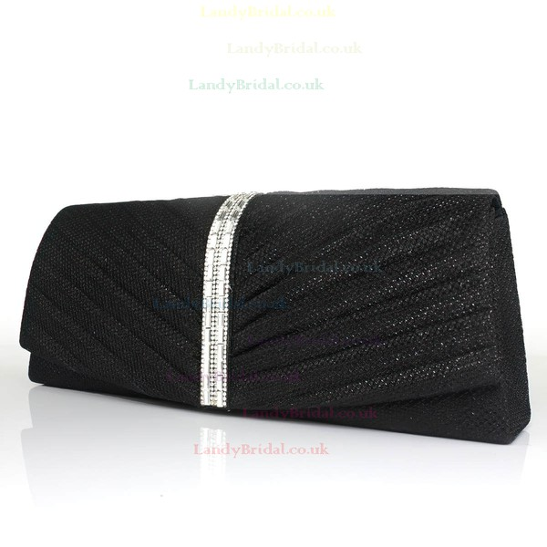Black Shiny Material Wedding Crystal/ Rhinestone Handbags