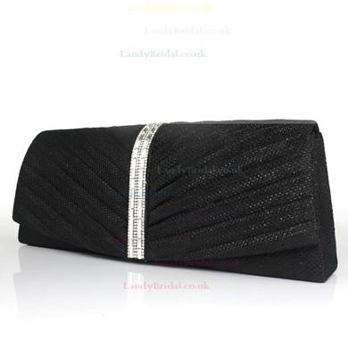 Black Shiny Material Wedding Crystal/ Rhinestone Handbags #LDB03160090