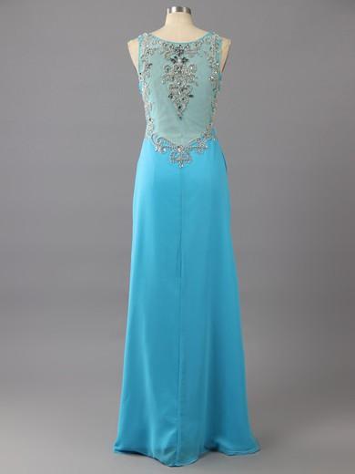 Sweetheart Chiffon Tulle Beading Unique Split Front Blue Sheath/Column Prom Dresses #LDB02017024
