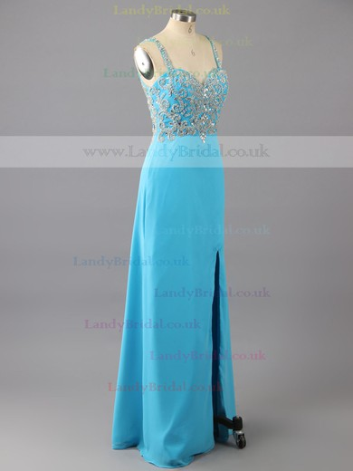 Sweetheart Chiffon Tulle Beading Unique Split Front Blue Sheath/Column Prom Dresses #LDB02017024