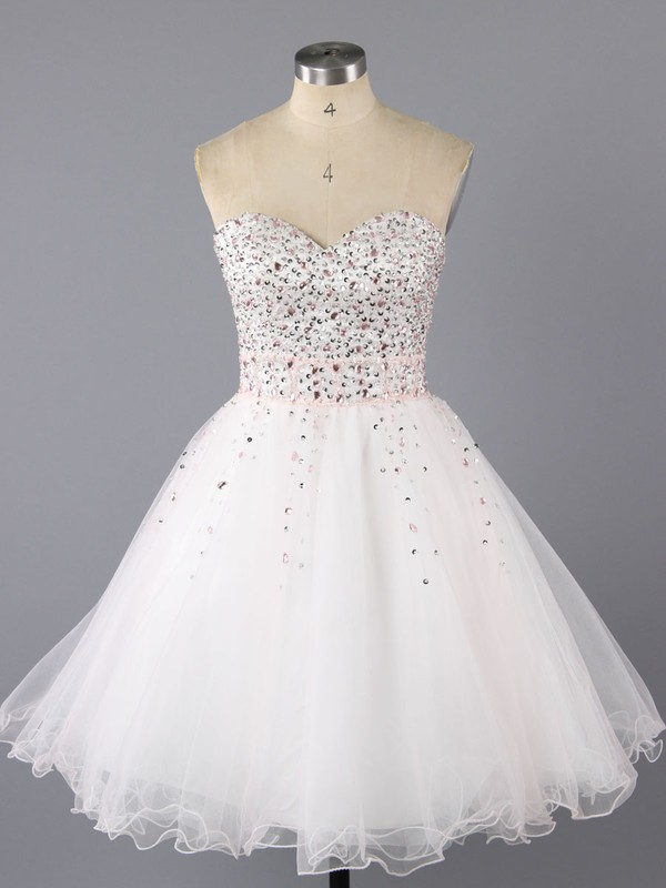 Cute Ivory Tulle with Beading Lace-up Sweetheart Short/Mini Prom Dress #LDB02017090