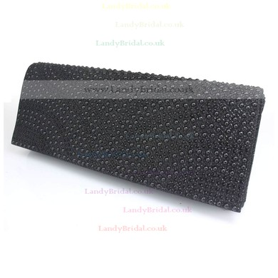 Black Silk Wedding Imitation Pearl Handbags #LDB03160107