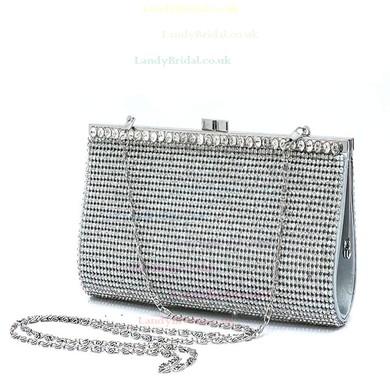 Silver Silk Wedding Crystal/ Rhinestone Handbags #LDB03160109