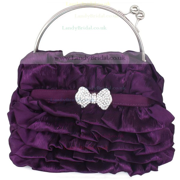 Black Silk Wedding Crystal/ Rhinestone Handbags