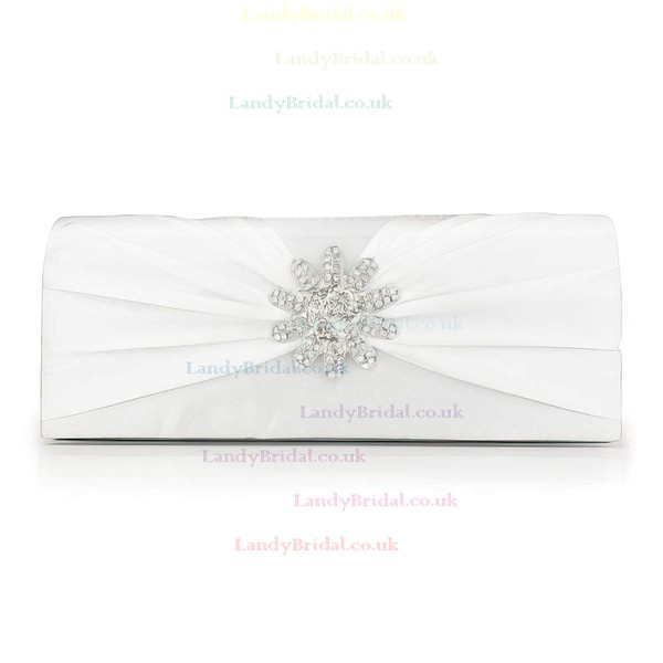 Silver Silk Wedding Crystal/ Rhinestone Handbags