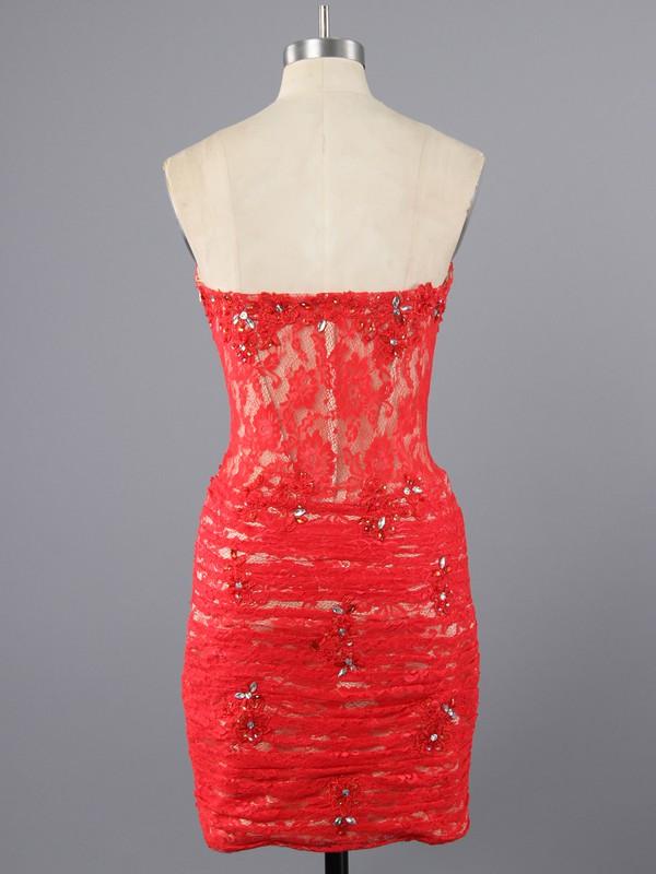 Sheath/Column Sweetheart Beading Girls Short/Mini Red Lace Prom Dress #LDB02017095