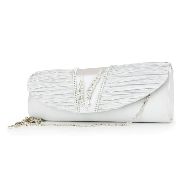 Silver Silk Wedding Crystal/ Rhinestone Handbags #LDB03160118