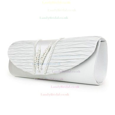 Silver Silk Wedding Crystal/ Rhinestone Handbags #LDB03160118