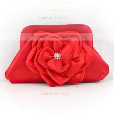 Red Silk Wedding Flower Handbags #LDB03160126