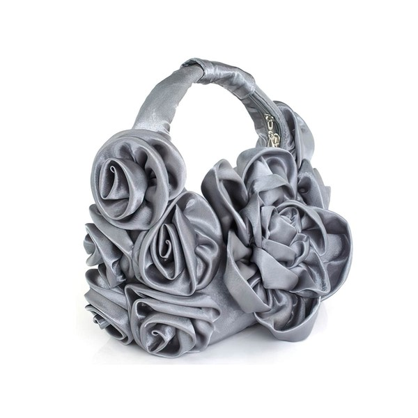 Light gray Silk Ceremony&Party Flower Handbags #LDB03160132