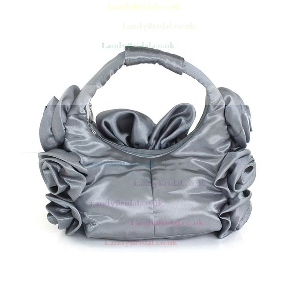 Light gray Silk Ceremony&Party Flower Handbags