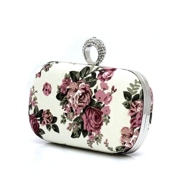 Black Silk Ceremony & Party Floral Print Handbags