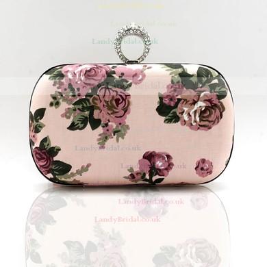Black Silk Ceremony & Party Floral Print Handbags #LDB03160163