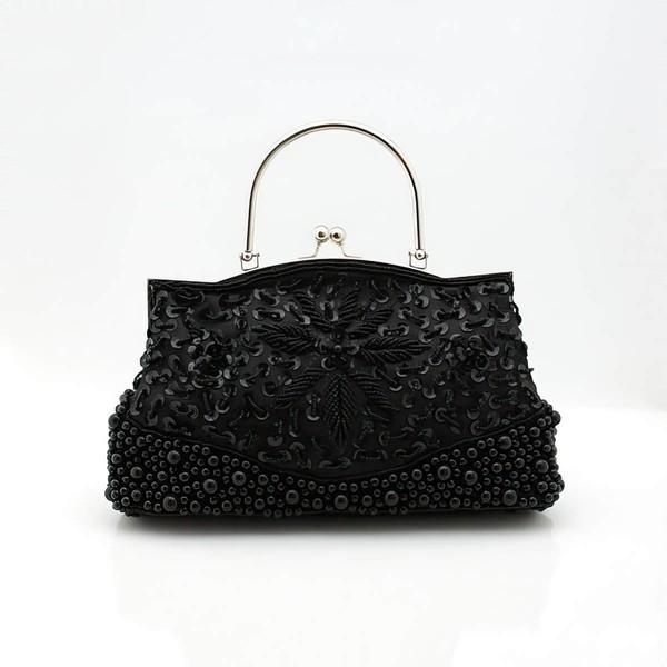 Black Silk Ceremony & Party Pearl Handbags