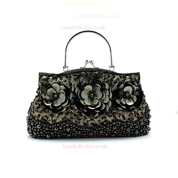 Black Fabric Ceremony & Party Sequin Handbags