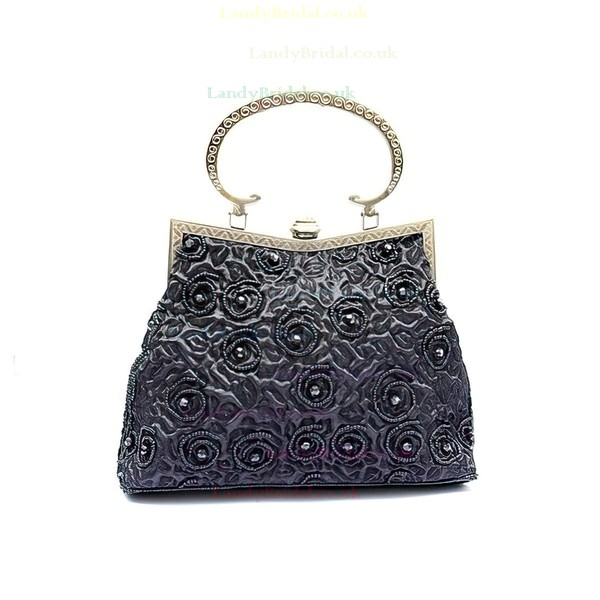 Black Linen Ceremony & Party Beading Handbags