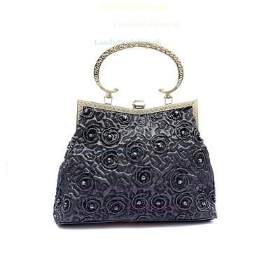 Black Linen Ceremony & Party Beading Handbags #LDB03160177