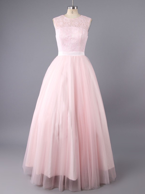 Perfect Scoop Neck Tulle Lace with Bow Open Back Pink Princess Prom Dress #LDB02017261
