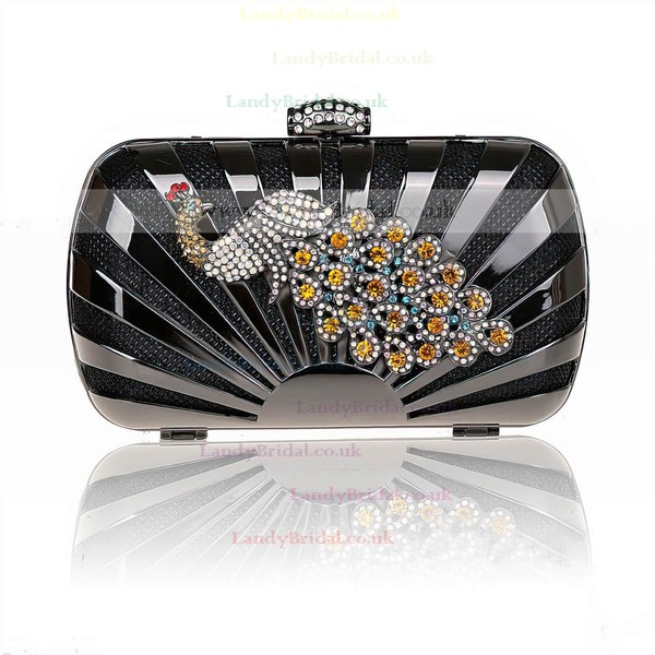 Black Fabric Ceremony & Party Metal Handbags