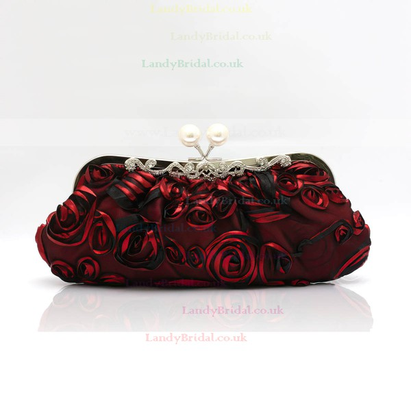 Black Silk Ceremony & Party Flower Handbags