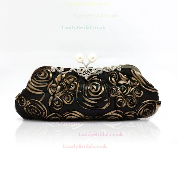 Black Silk Ceremony & Party Flower Handbags