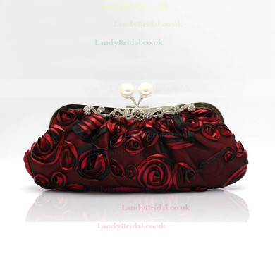 Black Silk Ceremony & Party Flower Handbags #LDB03160191