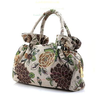 Black Linen Casual & Shopping Flower Handbags #LDB03160192