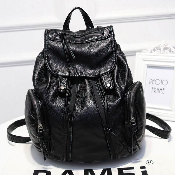 Black PU Casual & Shopping Floral Print Handbags