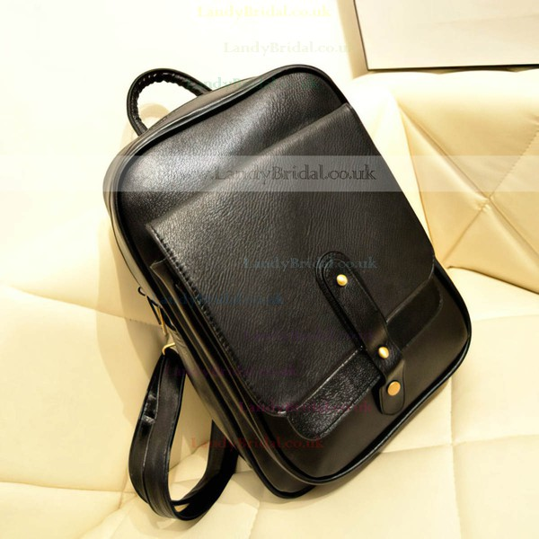 Black PU Casual & Shopping Rivet Handbags
