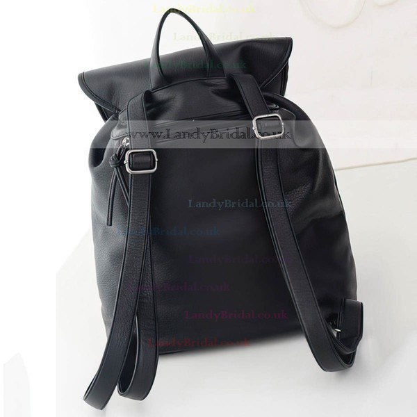 Black PU Casual & Shopping Ruffles Handbags