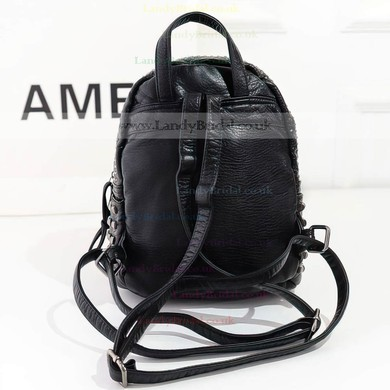 Black PU Casual & Shopping Rivet Handbags #LDB03160139