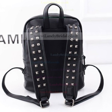 Black PU Casual & Shopping Rivet Handbags #LDB03160141
