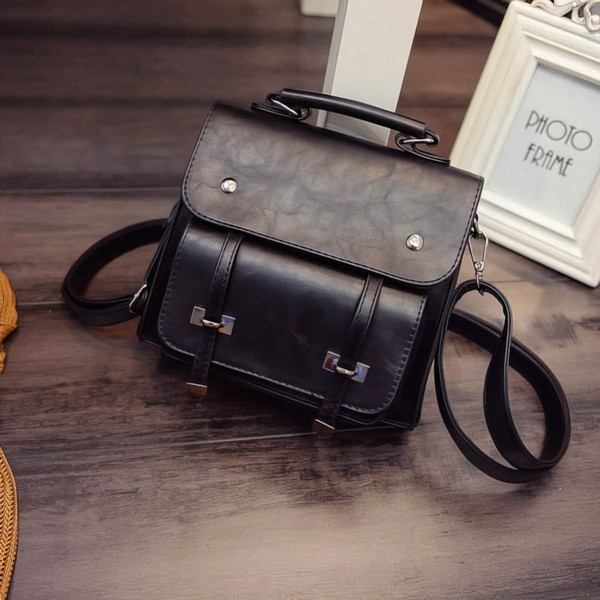 Black PU Casual & Shopping Metal Handbags #LDB03160143