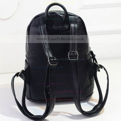 Black PU Casual & Shopping Rivet Handbags #LDB03160146