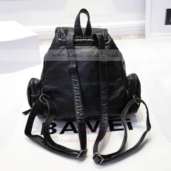 Black PU Casual & Shopping Metal Handbags