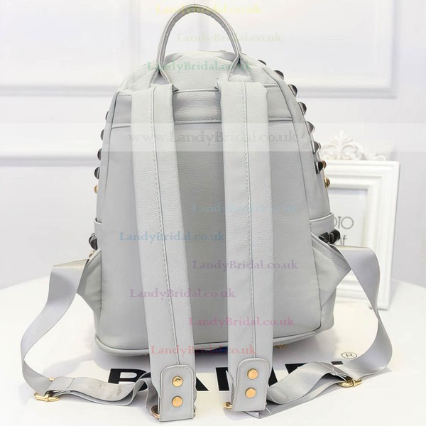 Gray PU Office & Career Rivet Handbags