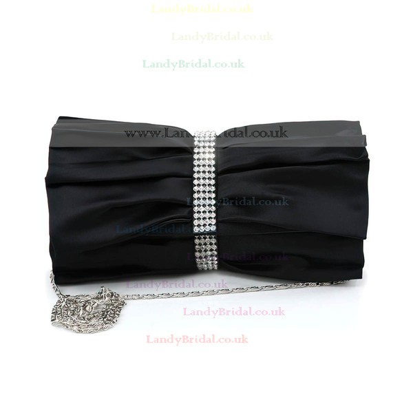 Black Silk Ceremony & Party Crystal/ Rhinestone Handbags