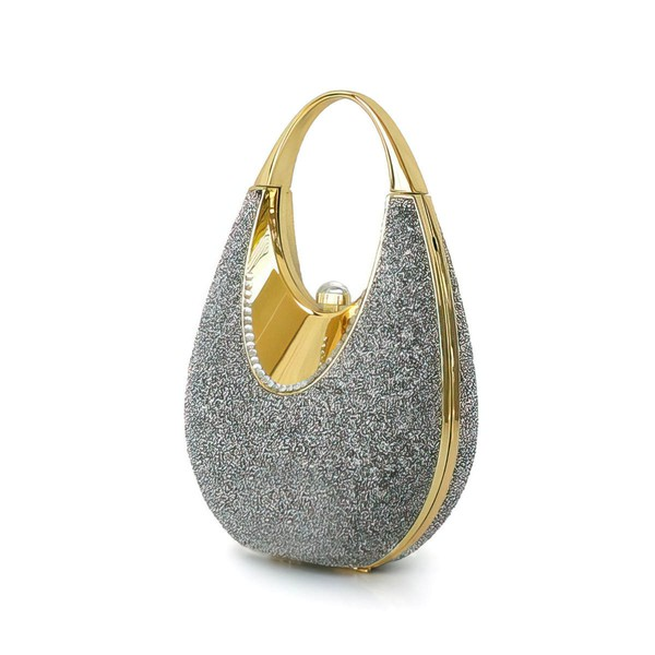 Light gray Sparkling Glitter Wedding Imitation Pearl Handbags #LDB03160199
