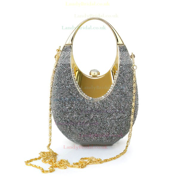 Light gray Sparkling Glitter Wedding Imitation Pearl Handbags