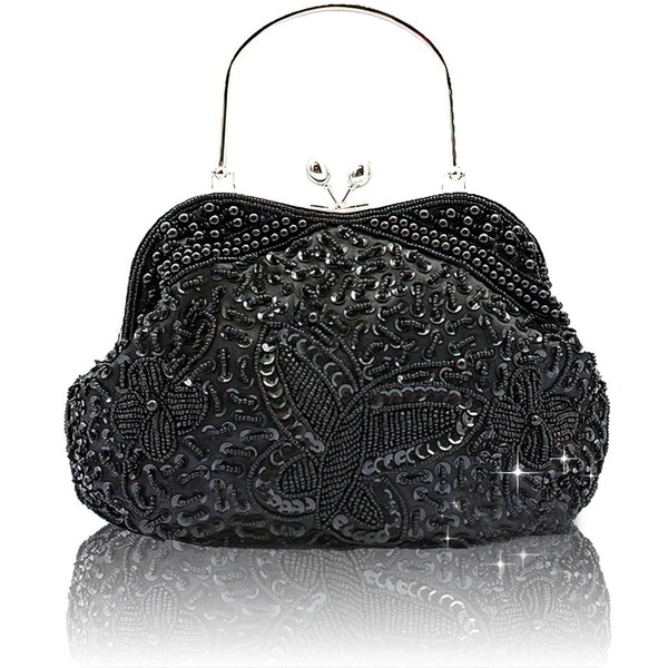 Black Silk Wedding Crystal/ Rhinestone Handbags #LDB03160206