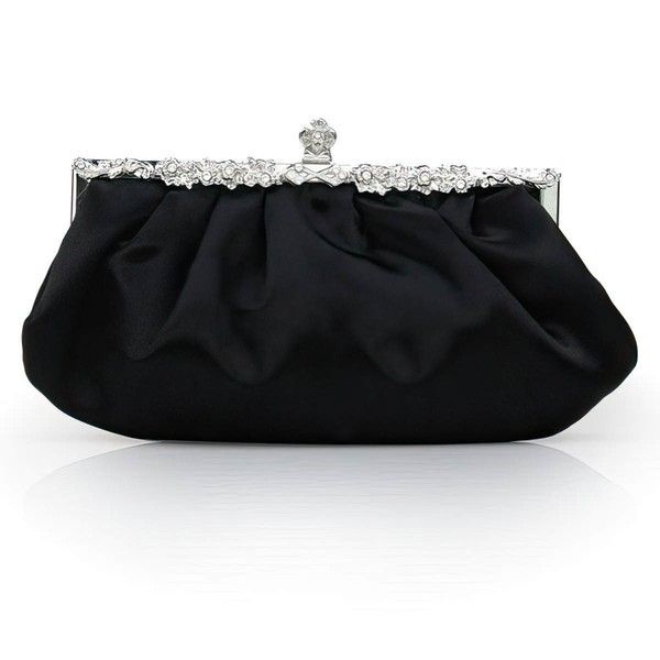 Black Silk Wedding Crystal/ Rhinestone Handbags #LDB03160215