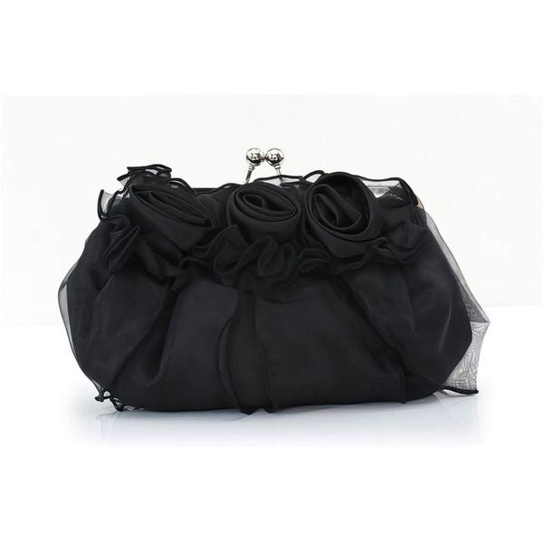 Black Silk Wedding Flower Handbags