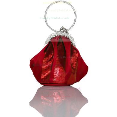 Silver Silk Ceremony & Party Crystal/ Rhinestone Handbags #LDB03160217