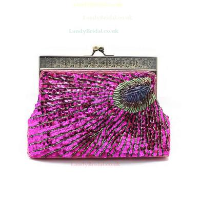 Silver Sequin Wedding Beading Handbags #LDB03160218
