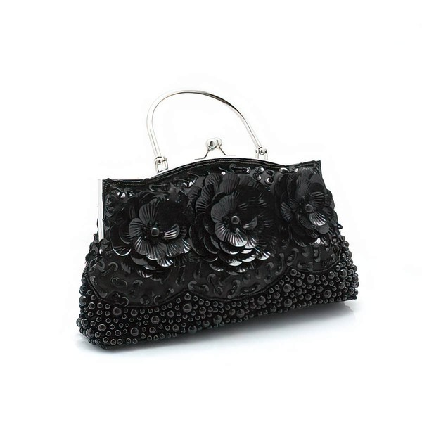 Black Silk Wedding Flower Handbags #LDB03160221